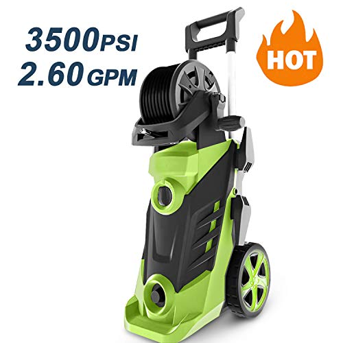 Homdox 3500 PSI 2.6 GPM Power Washer Electric Pressure Washer 1800W Electric Power Washer Cleaner with Hose Reel and 5 Nozzles