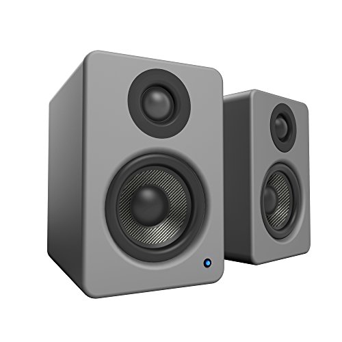 """Kanto 2 Channel Powered PC Gaming Desktop Speakers – 3"""" Composite Drivers 3/4"""" Silk Dome Tweeter – Class D Amplifier - 100 Watts - Built-in USB DAC - Subwoofer Output - YU2MG (Matte Grey)"""
