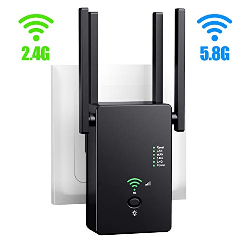 URANT WiFi Range Extender/Repeater/Router AC1200M, Internet WiFi Booster, Access Point, 2.4 & 5.8GHz Dual Band WiFi Extender| WiFi Signal to Smart Home & Alexa Devices.